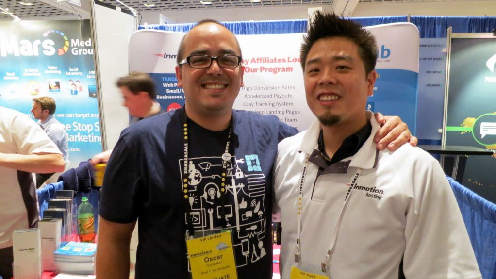 Oscar Gonzalez with Jason Hong at Affiliate Summit West 2014 in Las Vegas