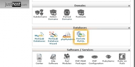 CPanel Database Options