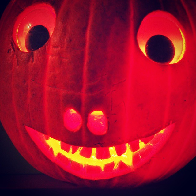 Creepy pumpkin carved with claire halloween