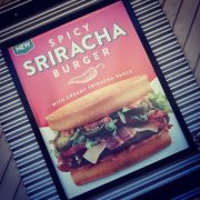This is Jack's Sriracha burger. Their answer to Carl's Diablo burger.  Its tasty but nowhere near as spicy. I think Carl's wins this one.