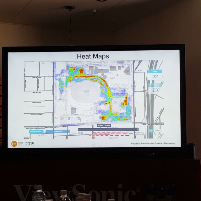 #2015IMF Live heatmap replay of an event that used ibeacons and proximity messaging. This shows where the crowd was, when and allows the company to laser target messaging, offers and more.