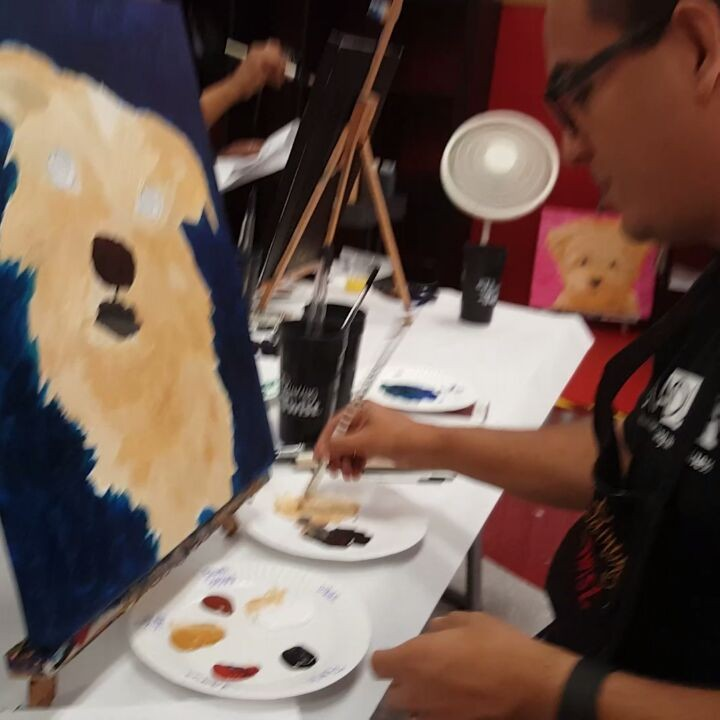 This was me in action at the Painting With a Twist event the other day. They give you a step by step guide to follow.  I didn't think I would like this as much as I did. Took me back to art classes growing up. This is step 2 or 3 out of 6... on the second glass of pinot noir. (Look at my previous post to see what I started with)  #paintingwithatwist #paintandwine  #pwatsoundart #onsia #color #summeractivities #huntingtonbeach #orangecounty