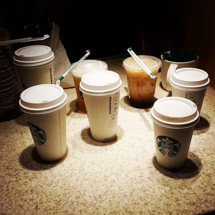 Coffee time. Many orders waiting. #coffeeplease #coffeetime #coffeefix #starbucks