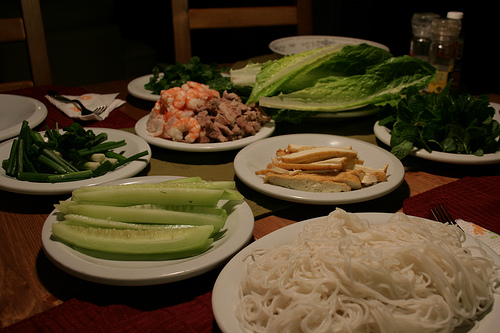 Rolling your own vietnamese spring rolls