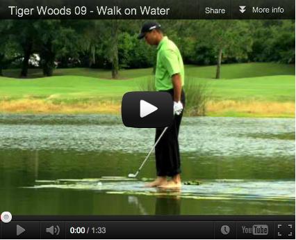 The Jesus shot, Tiger Wood walks on water.