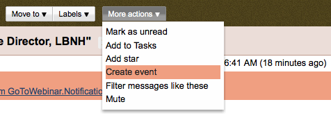 create event from gmail menu