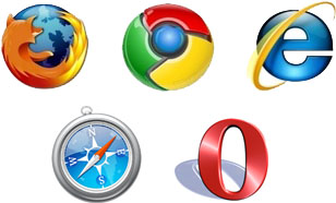 Logos of the Five major browsers