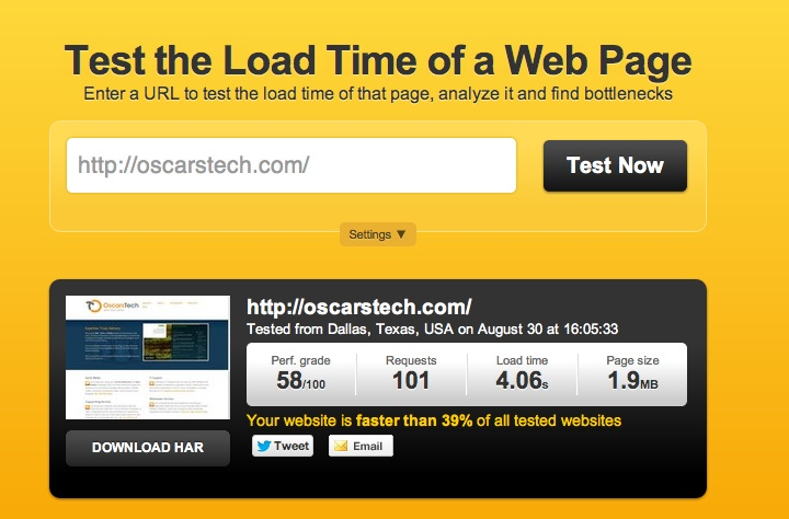 Testing your website for speed and load times