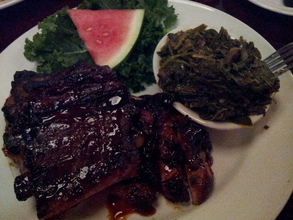 Ribs and collard greens