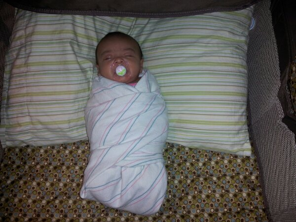 Claire Elise Swaddled One Month Old Baby Picture