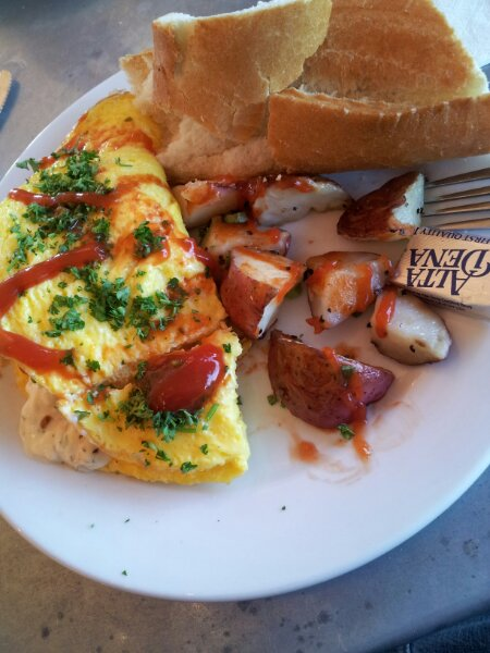 Picture of a home made omelette and bread