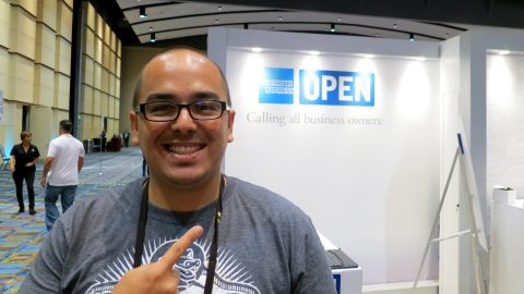 Oscar Gonzalez at American Express booth