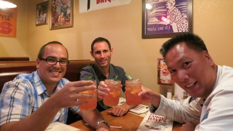 John, Marc and I planning our next JV over drinks.