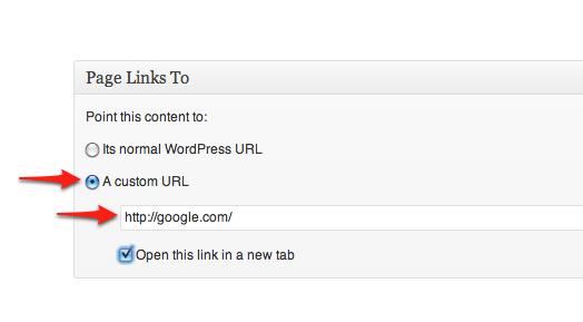 Page links to option just points to a different URL