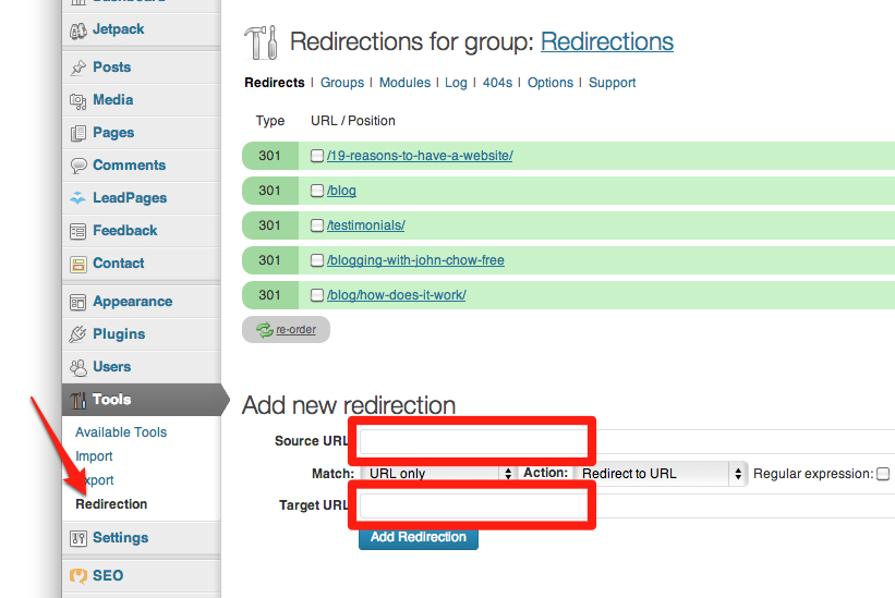 Redirection for WordPress plugin settings screen.