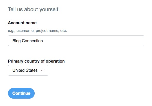 Screenshot of the application process where you name the project and say what country is this base on