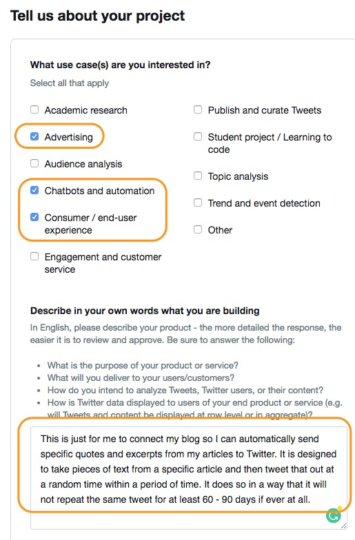 screenshot showing the next step in the twitter developer application process