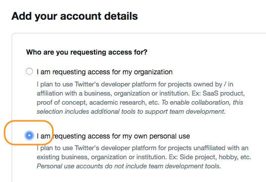 Screenshot of the application process asking if the developer account will be personal or business