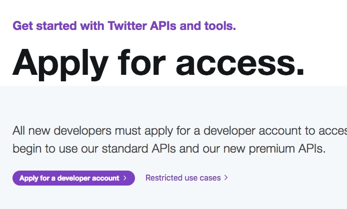 "Screenshot of the ""Apply for access"" page on Twitter"