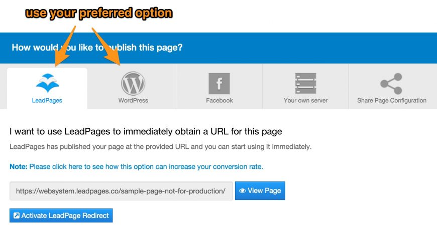 screenshot showing the wordpress vs link option