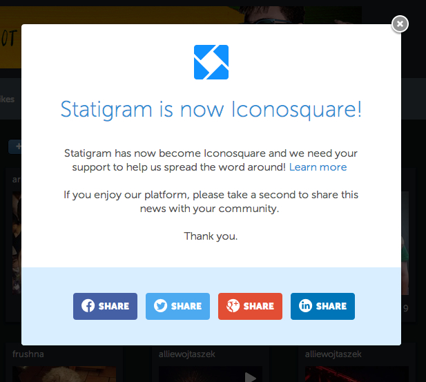 Screencap of Statigram's announcement to become Iconosquare
