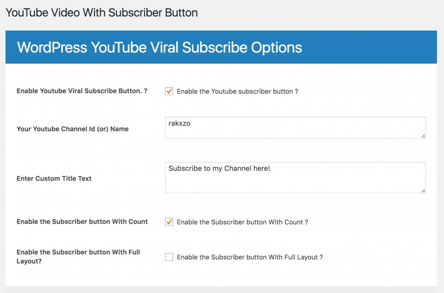 Screenshot of Youtube Viral Growth plugin for WordPress