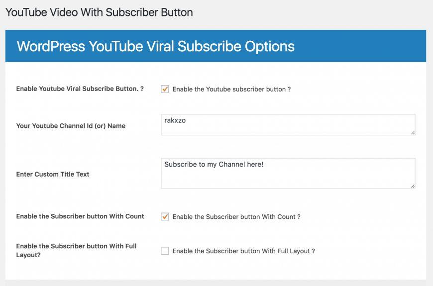 Screenshot of Youtube Viral Growth plugin for WordPress