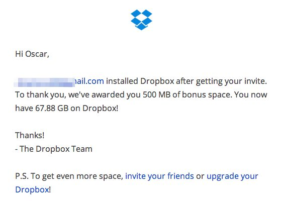 Almost 70GB of free storage with Dropbox