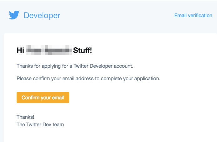 Screenshot showing the verification email for a twitter developer account