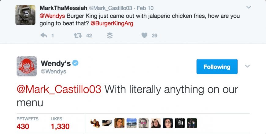 Screenshot of @Wendy's Twitter account replies
