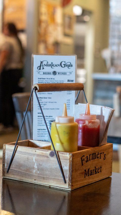 American Grub menu and condiments
