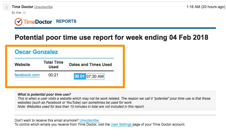 Screenshot for time doctor report of poor time use