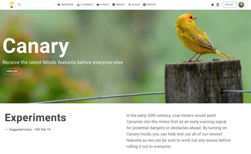 Screenshot of the Canary mode page on minds.com