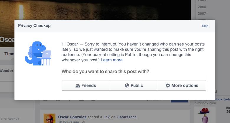 Facebook Privacy Checkup program