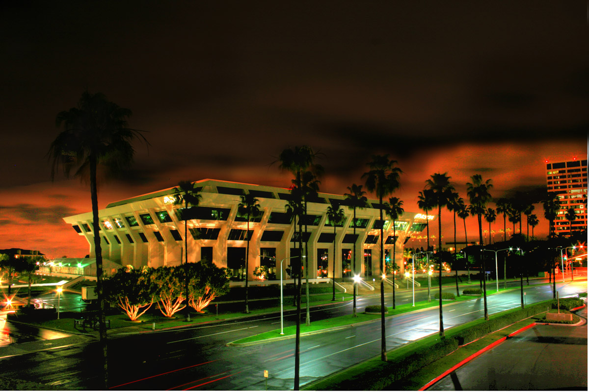 Pacific LIfe building at night