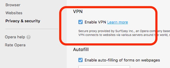 free vpn settings opera