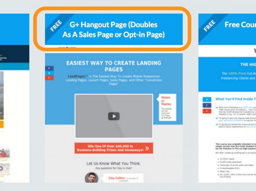 Screenshot showing the G+ Hangout Page template