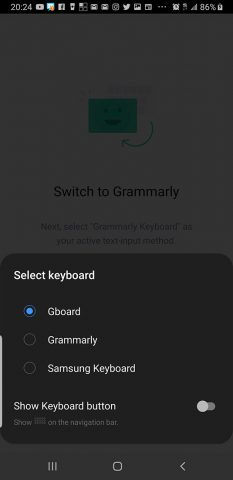 Screenshot showing the options available for input. Shows Gboard, Grammarly, and Samsung Keyboard. Yours may be different.