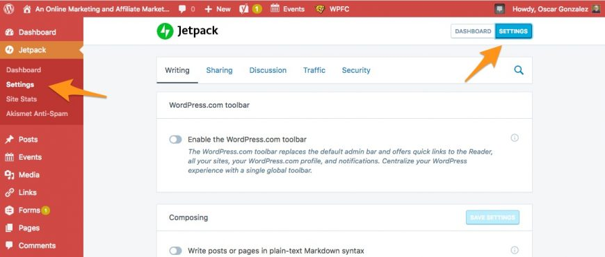 screenshot showing the two links for the settings in Jetpack