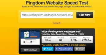 Load time for native Leadpages squeeze page