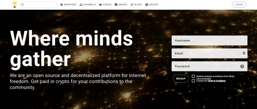 Screenshot of the new homepage at Minds.