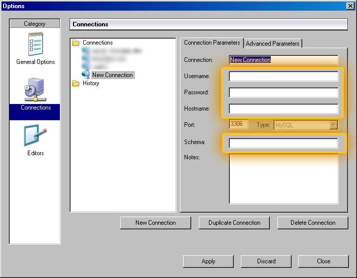 MySQL Administrator Connection Info