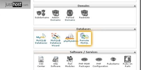 CPanel Database Options