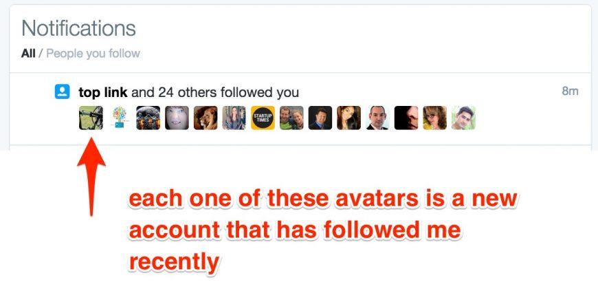 screenshot showing new Twitter followers