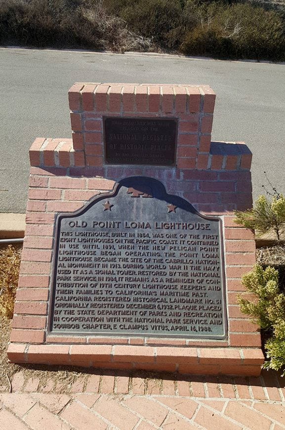 Old Point Loma Lighthouse Plaque