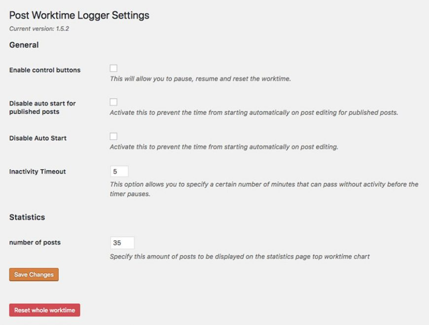Screenshot of the settings for the WordPress plugin Post Worktime Logger