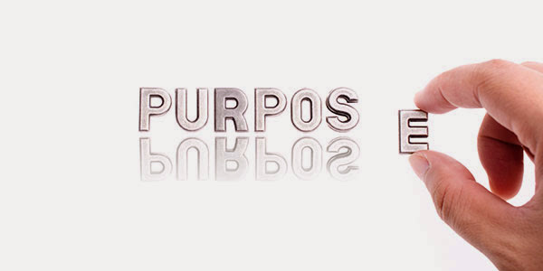 infographic with the word Purpose being assembled