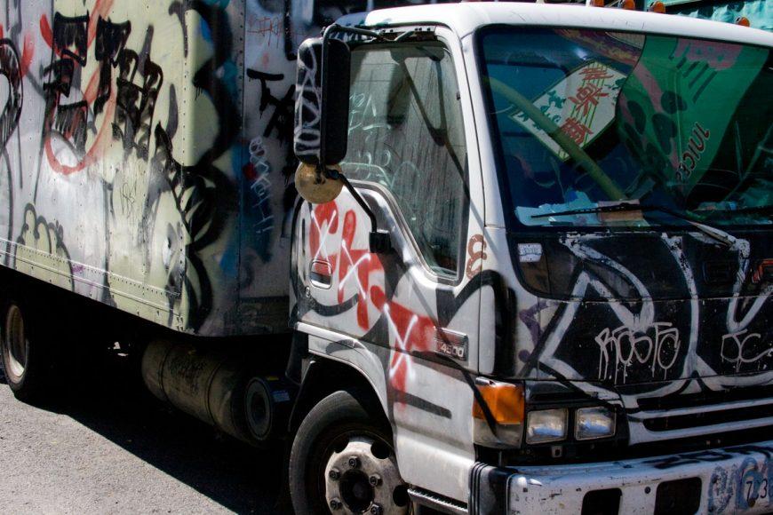 Truck with graffiti