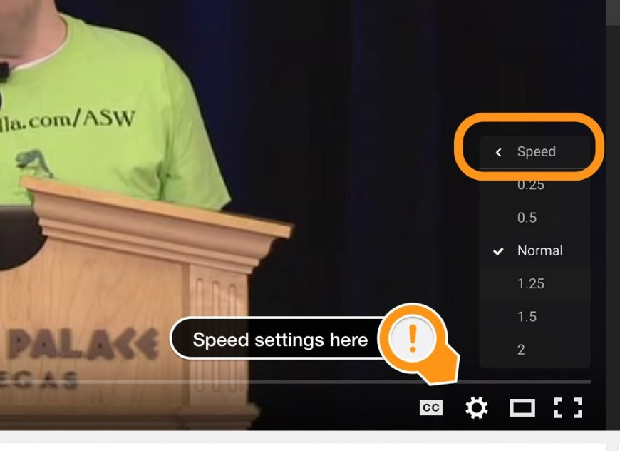 screenshot showing where to access speed playback settings in Youtube