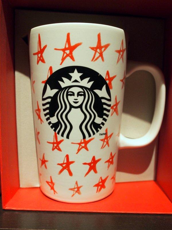 red stars starbucks mug